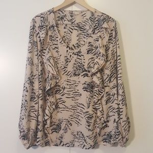 Abstract Feather Print Ruffled Blouse, Sz 18/20